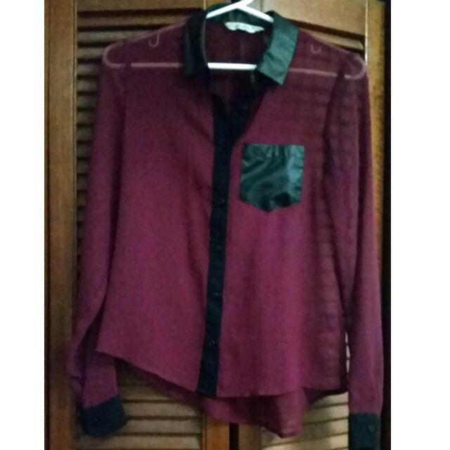 Long Sleeve Maroon Chiffon Shirt