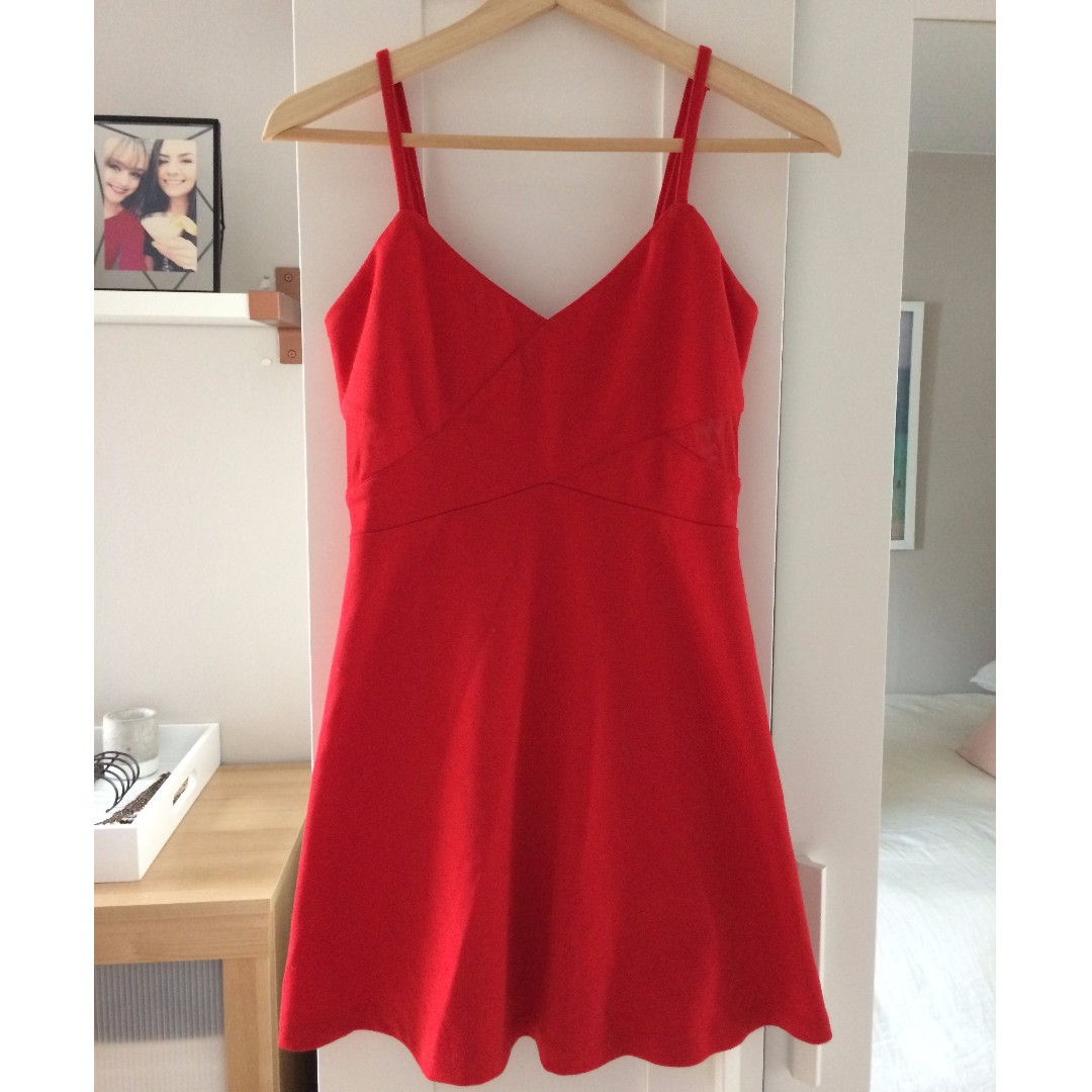 Modcloth Vintage Red Sweetheart Dress, Size Small