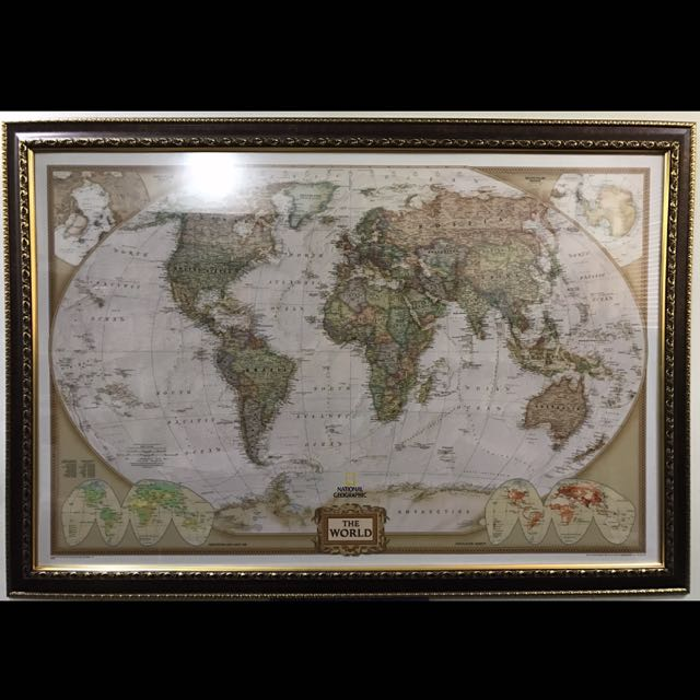National Geographic World Map With Beautiful Frame Vintage