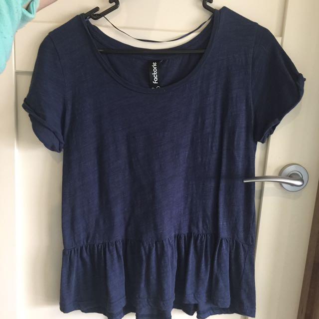 Navy Peplum Tshirt