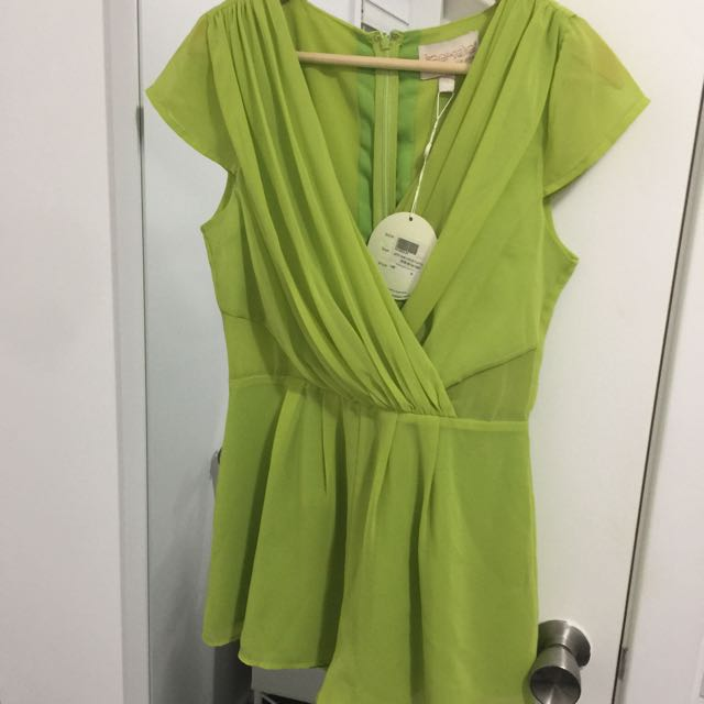 Neon Lime Green Playsuit