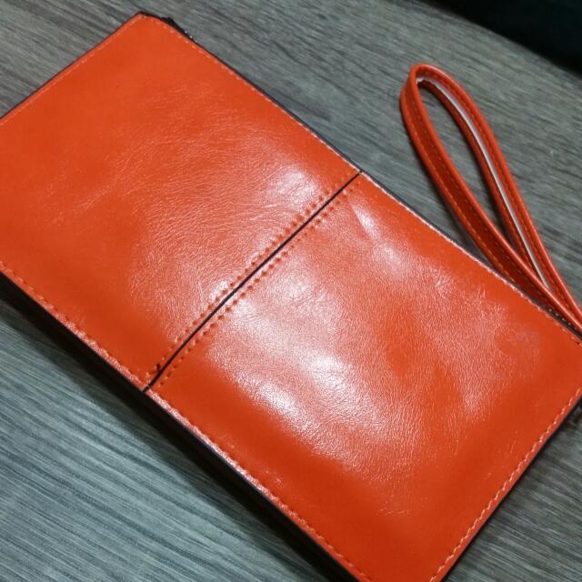 Orange zip Up Wallet