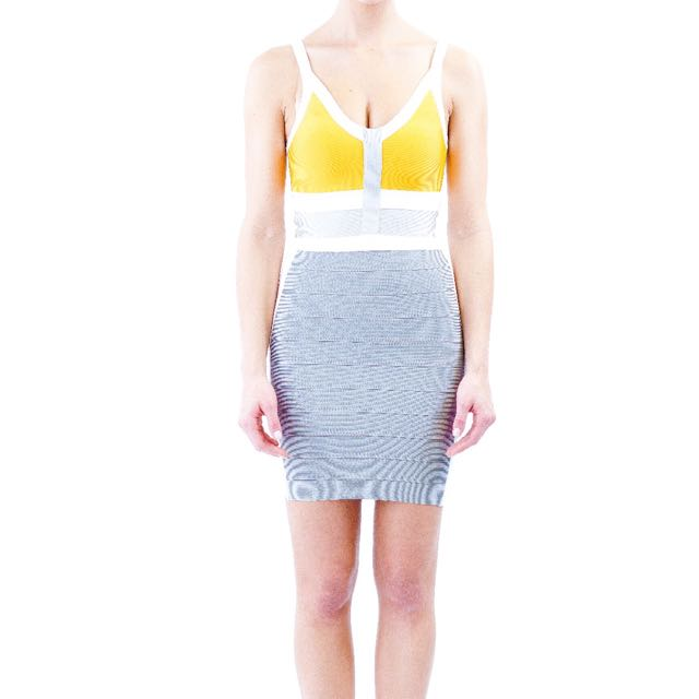 Orange/white/grey Bandage Dress