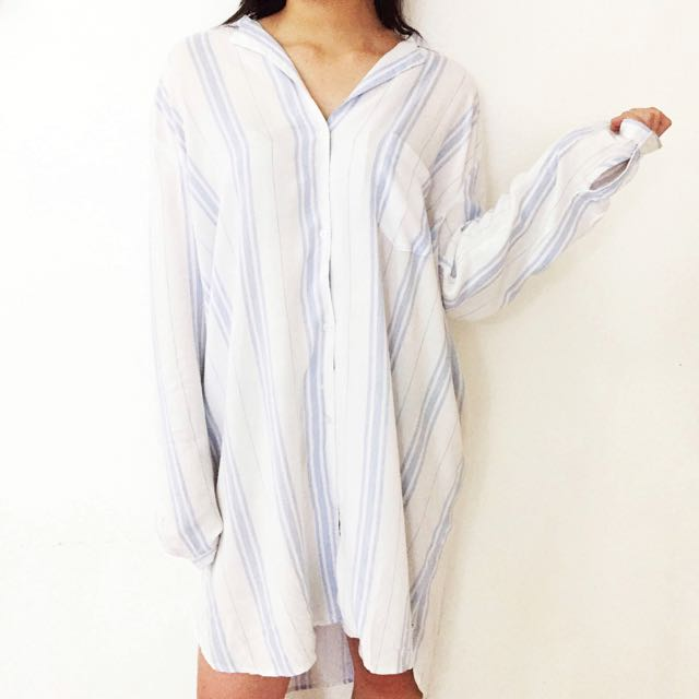Oversized Flannel Dress in Blue and White