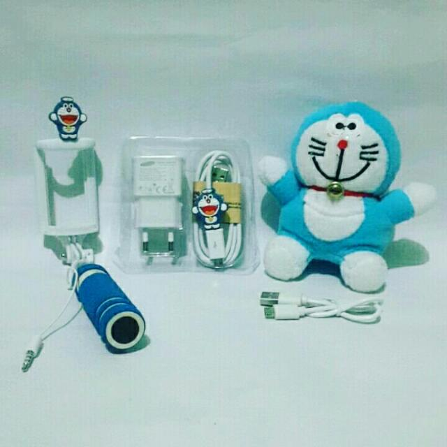 PAKET SPECIAL DORAEMON 3IN ( POWERBANK BONEKA + TONGSIS KABEL + CHARGER SAMSUNG ), Mobile Phones & Tablets, Mobile & Tablet Accessories on Carousell