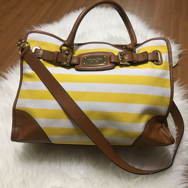 (Preloved) Michael Kors Hamilton EW Stripes Canvas Yellow White Tote Shoulder