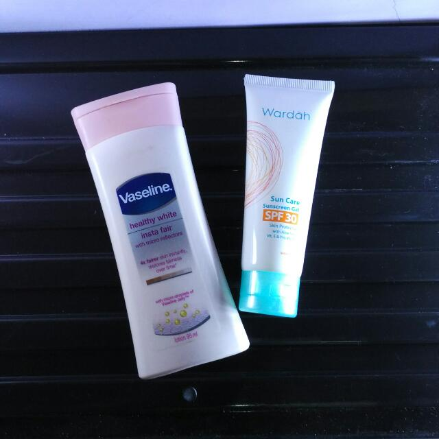 [PRELOVED] Vaseline + Wardah Sun Screen