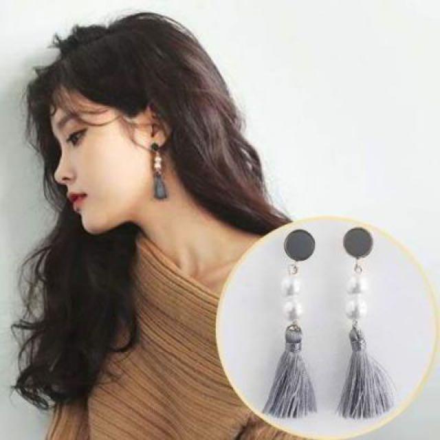 Retro Fan Light Beaded Tassel Spike Long Earrings