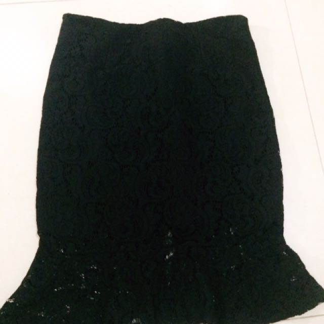 See through laced skirt