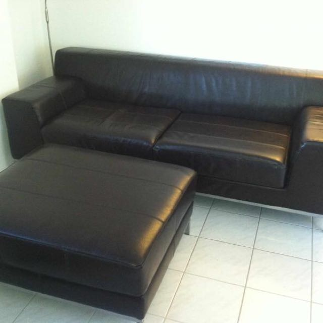 Stylish Black V High Grade Leather Sofa Armchair Foot Stool Good