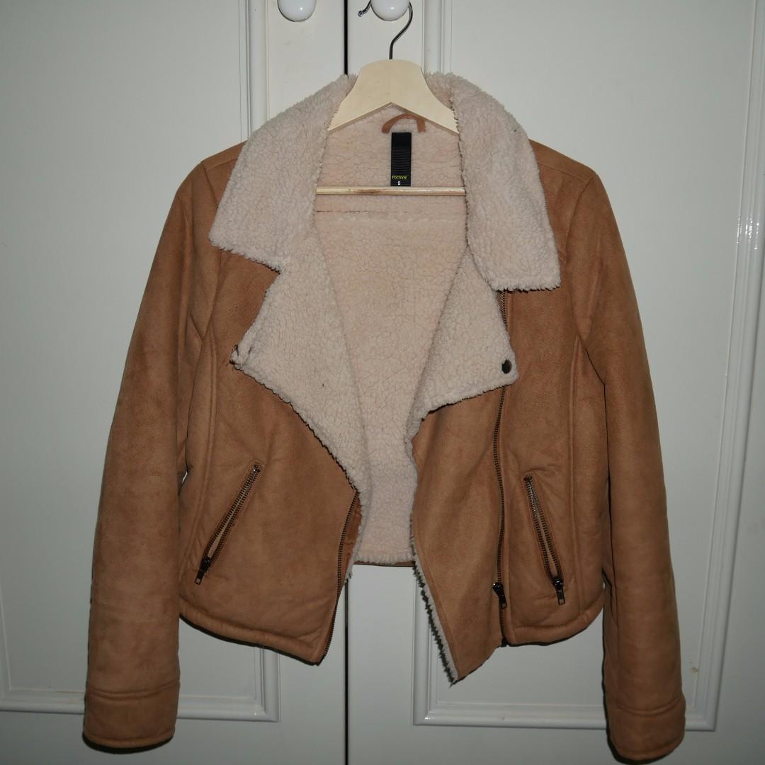 Tan shearling jacket - size 8