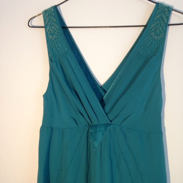 Teal Beaded Silk Ted Baker Dress