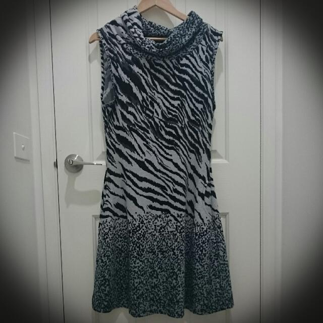 Tiger Leopard Print Dress Grey/Black