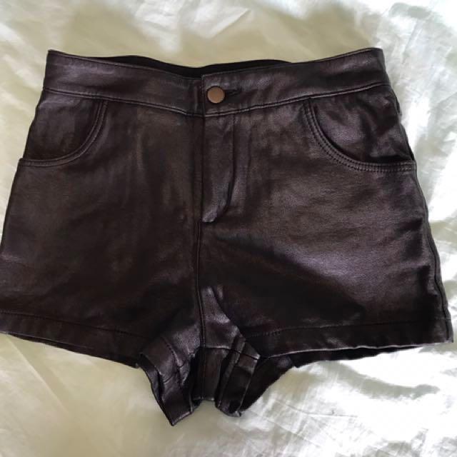 Topshop Black Leather Shorts Size UK 6
