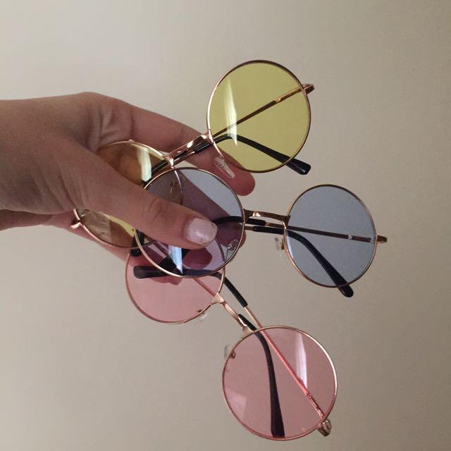 Unisex Yellow Mellow Hippy Sunglasses Vintage Style Round