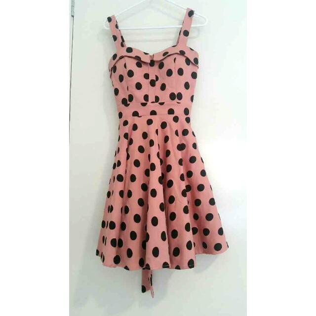 Valley Girl Polka Dot Pink Dress Size 8