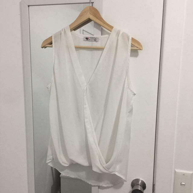 White Crossover Sleeveless Blouse Shirt