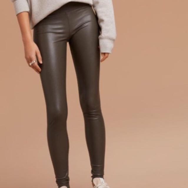 Wilfred (aritzia) Gray Green Leather Daria pant