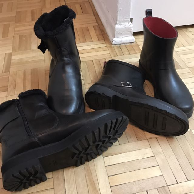 Women's two pairs of black leather boots for sale