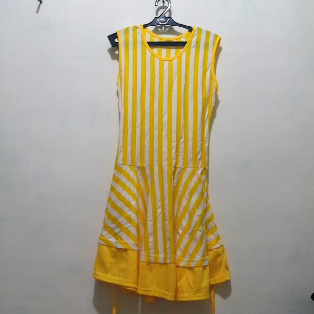 Yellow And White Stripe Dress