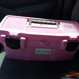 Pink Tool Box With Some Tools
