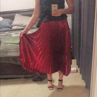 BNWT Red Wine Pleated Midi Skirt