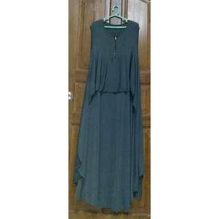 Busui Dress Tanpa Lengan warna Abu Rokok