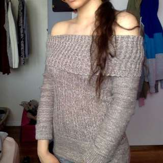 Nude Off The Shoulder Sweater