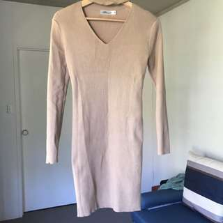 Nude Bodycon Choker Dress SZ S