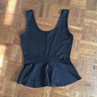 Black Peplum Top By Guess