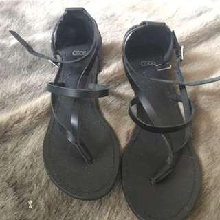 ASOS Black Strap Flat Sandals