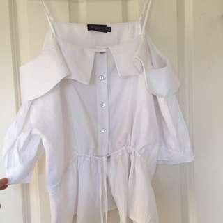 Boho Off-Shoulder Linen Shirt