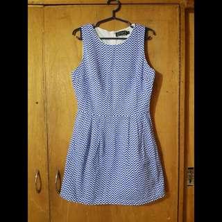 Just G Chevron Print Blue Dress