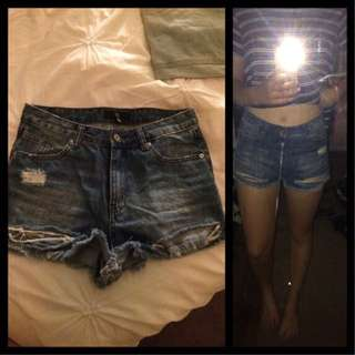 MISSGUIDED denim High Waisted Shorts Size 10