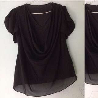 XSML_drapery black blouse