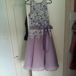 Lilac Tea Length Ball Dress