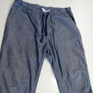 無印良品 藍染七分寬褲