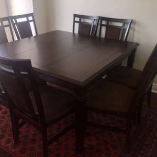 Dark Brown Dining Table & 8 Chairs