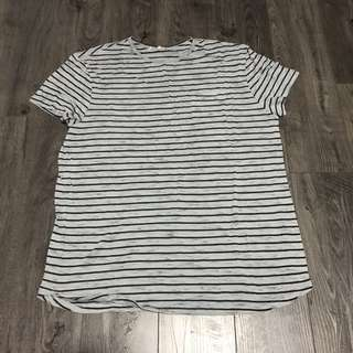 Grey Striped Tee Shirt Top