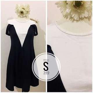Black & White Cold-shoulder Dress