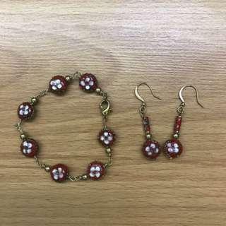 Oriental Bracelet and Earring Set