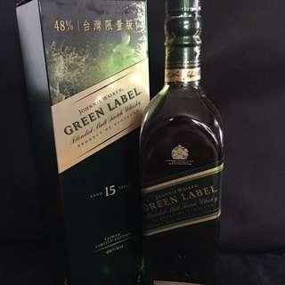 Johnnie Walker Green Label 15年調和純麥威士忌(48度台灣限定版)