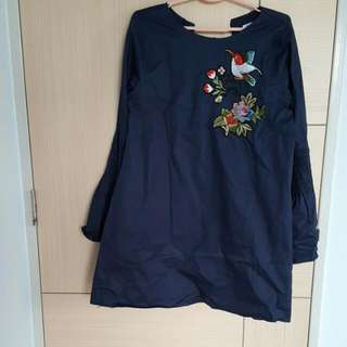New!!! Lollyrouge Embroidered Shift Dress With Long Bell Sleeves
