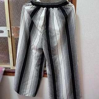 氣質條紋寬褲