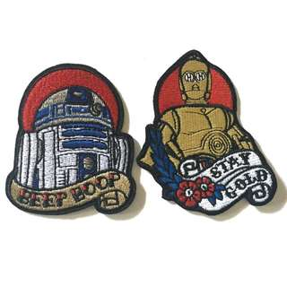 R2D2 & C3PO Star Wars Tattoo Style Iron On Patches
