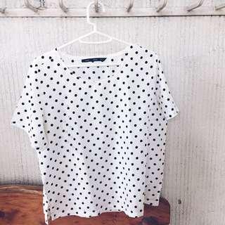 Forme White and Black Polka Dot Top
