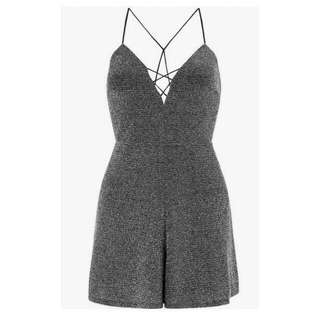 Miss Selfridge Sparkly Silver Playsuit