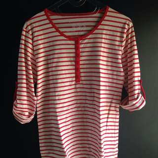 Top Shirt Red White
