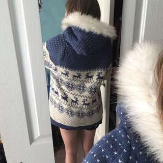 Home Made Knitted Winter Jacket Cotton Lining