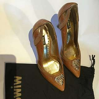 Mimco Brown Leather Heels (Size 37)